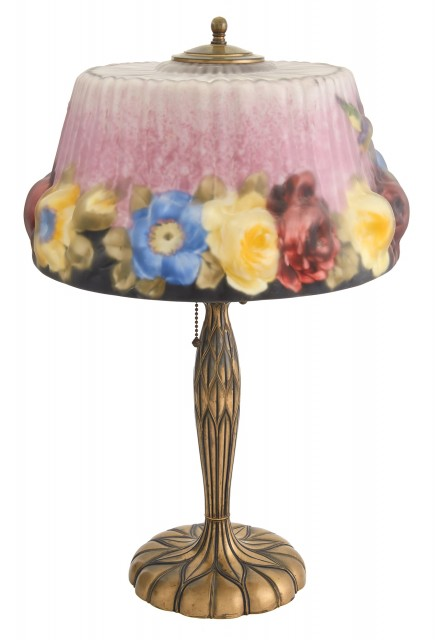 Pairpoint Mfg. Co. Lacquered Metal and Reverse Painted Glass Hummingbirds and Roses Puffy Lamp