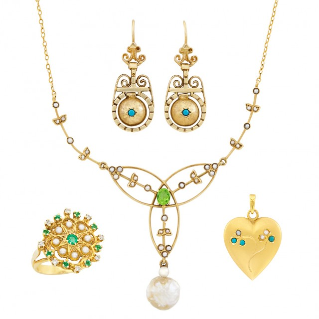 Antique Gold, Emerald, Peridot, Split Pearl, Freshwater Pearl and Diamond Necklace, Pendant, Ring and Pair of Earrings