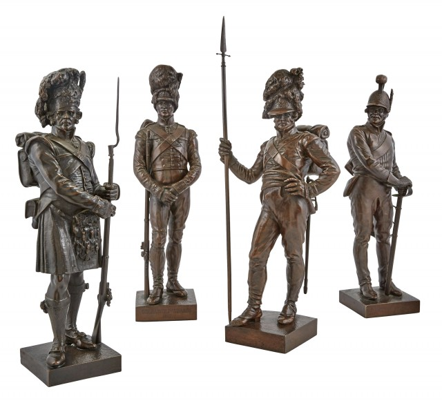 Group of Four Victorian Bronze Patinated Metal Figures of Guards