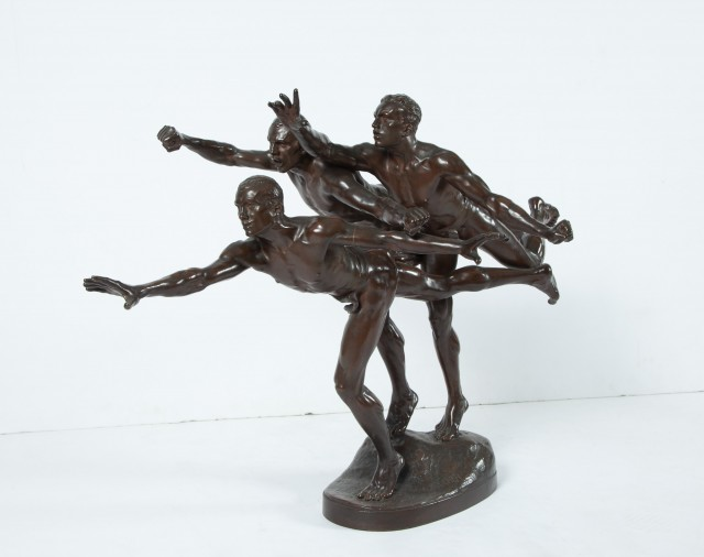 Patinated Bronze Group of Three Male Runners at the Finish Line Entitled Au But