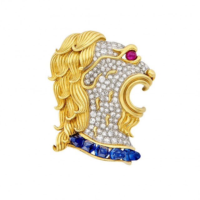 Two-Color Gold, Diamond, Sapphire and Ruby Lion Clip-Brooch, France