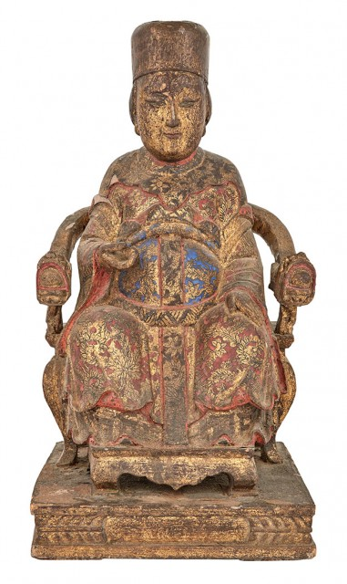 Chinese Painted and Gilt Wood Figure of a Seated Official