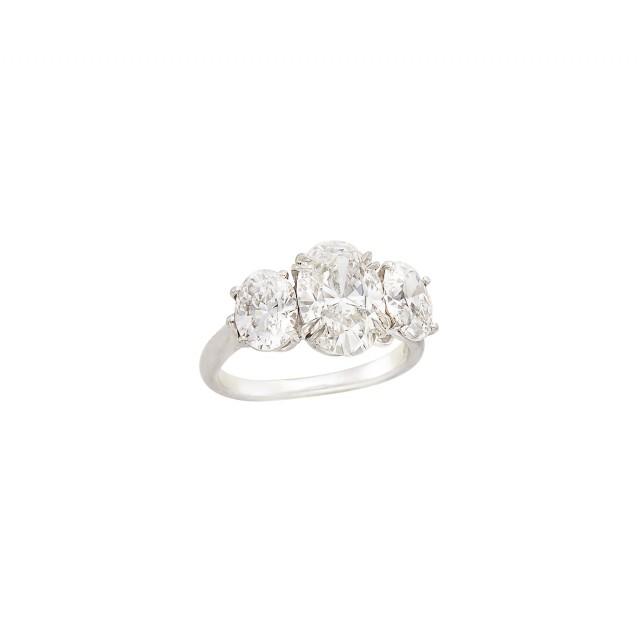 Platinum and Three Stone Diamond Ring, Harry Winston