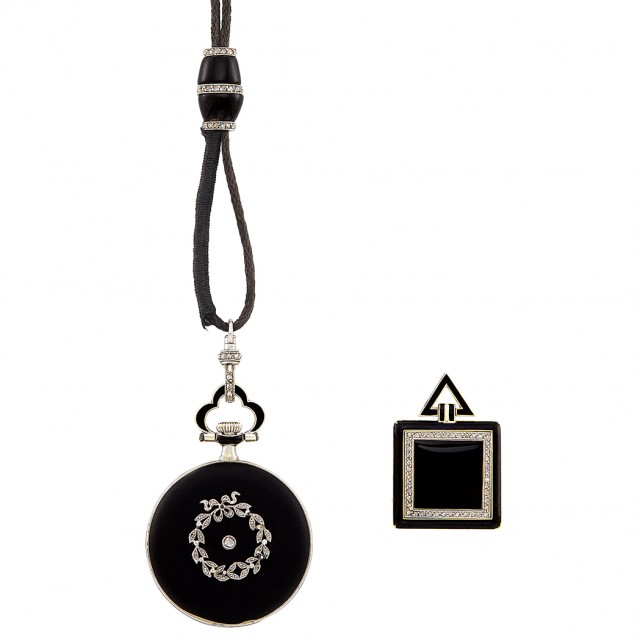Belle Époque Platinum, Black Enamel and Diamond Pendant-Watch, Dreicer & Co. with Black Cord with Slide and Pendant
