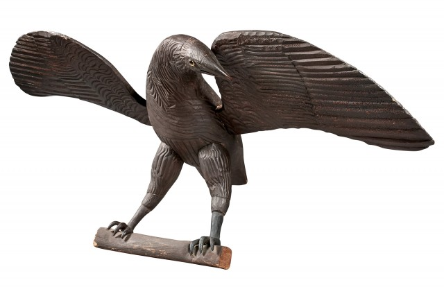 Carved and Painted Pine Model of an Eagle