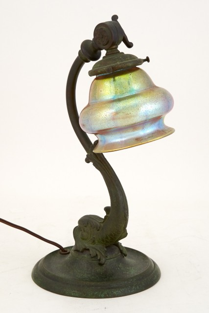 "Art Nouveau Green Patinated Metal ""Dolphin"" Gooseneck Desk Lamp Base with a Bohemian Hand-Blown Iridescent Gold Bell-Form Glass Shade"