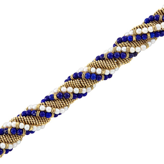 Twisted Gold, Lapis Bead and Cultured Pearl Bracelet, Cartier