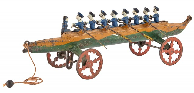 Painted Cast Iron Model of a Rowing Crew