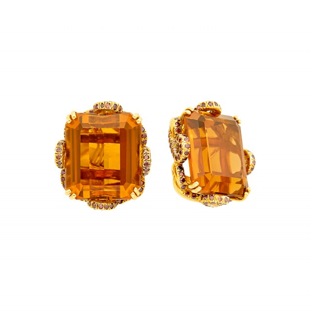Pair of Gold, Citrine and Brown Diamond Earclips, Haume