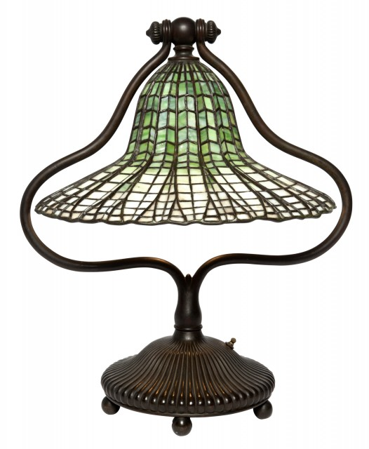 Tiffany Studios Bronze and Leaded Glass Lotus Bell Table Lamp