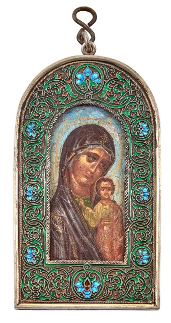 Russian Silver and Cloisonné Enamel Icon of the Mother of God of Kazan