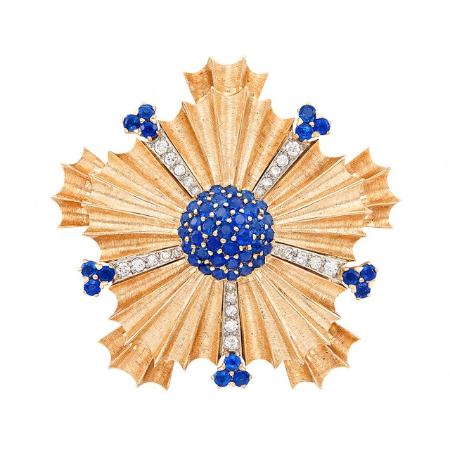 Rose Gold, Sapphire and Diamond Clip-Brooch, Tiffany and Co.