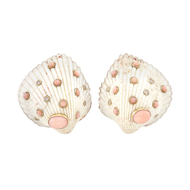 Pair of Gold, Shell, Coral and Diamond Earclips, Trianon
