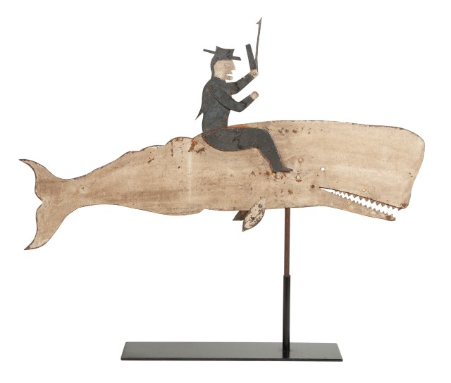 Paint Decorated Sheet Iron Whale and Whaler Weathervane