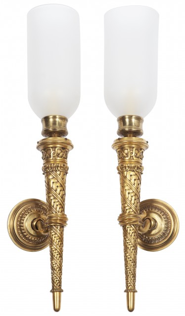 Pair of Neoclassical Style Gilt-Bronze Single-Light Sconces with Glass Hurricane Shades
