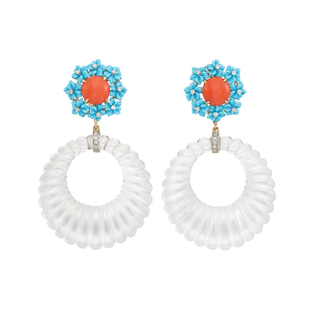 Pair of Gold, Coral, Carved Turquoise, Diamond and Fluted Rock Crystal Hoop Pendant-Earclips