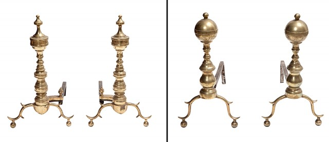 Two Pairs of Brass Andirons