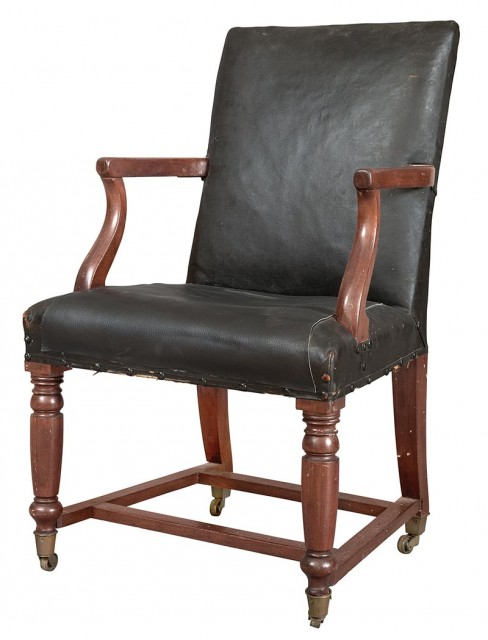 Rare Classical Mahogany Upholstered Armchair From the United States House of Representatives, Washington DC