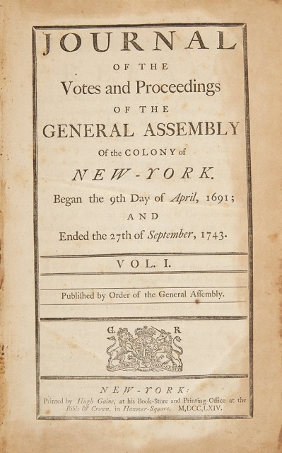 [NEW YORK-COLONIAL]  Journal of the Votes and Proceedings of the General Assembly of the Colony of New-York.