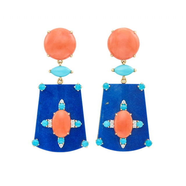 Pair of Gold, Coral, Lapis, Diamond and Turquoise Pendant-Earclips