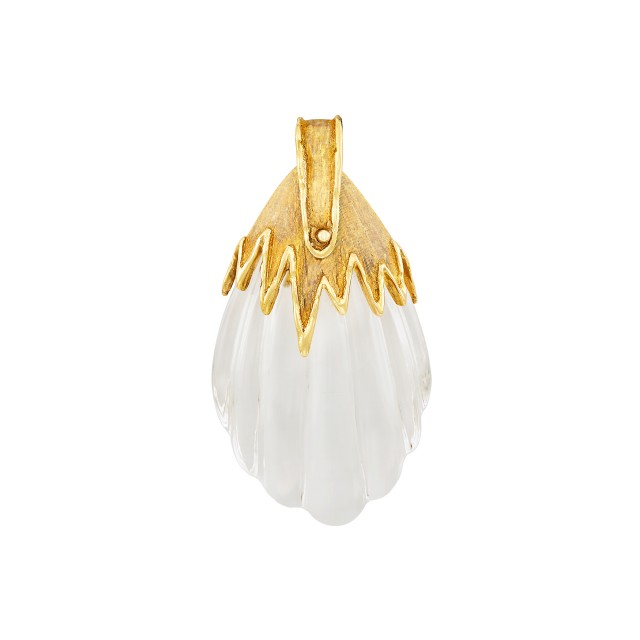 Gold and Fluted Rock Crystal Pendant, Jean Paris