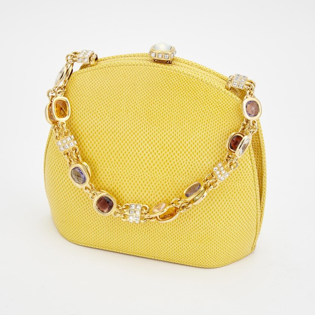 Yellow Leather Evening Bag, Judith Leiber