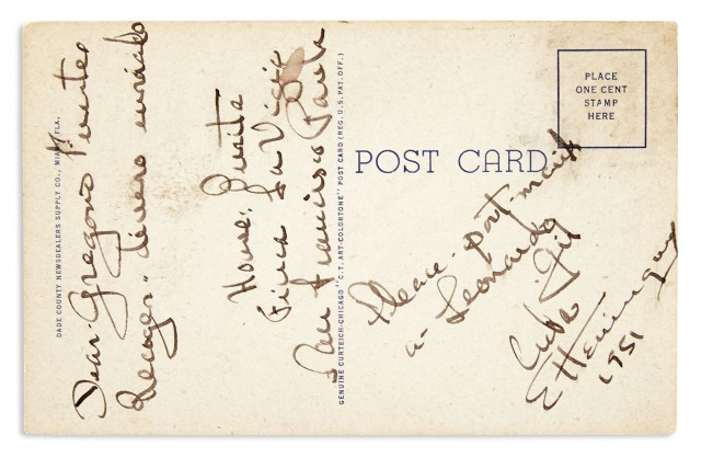 HEMINGWAY, ERNEST  Manuscript note on a postcard signed to Gregorio Fuentes.