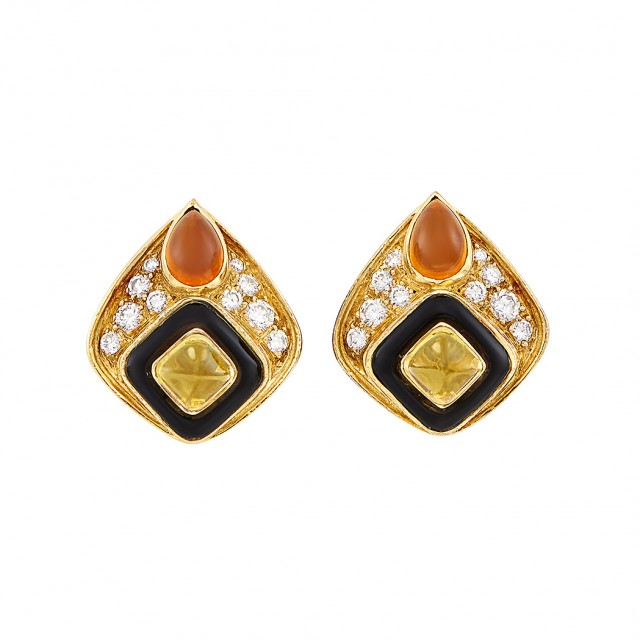 Pair of Gold, Cabochon Citrine, Black Onyx and Diamond Earclips, Marina B, France