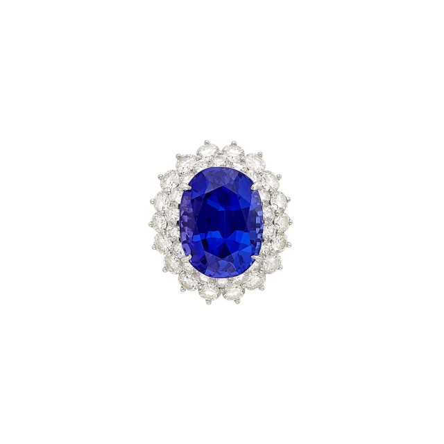 Platinum, Tanzanite and Diamond Ring