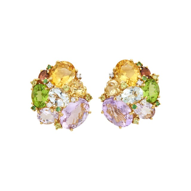 Pair of Gold, Colored Stone and Diamond Cluster Earclips