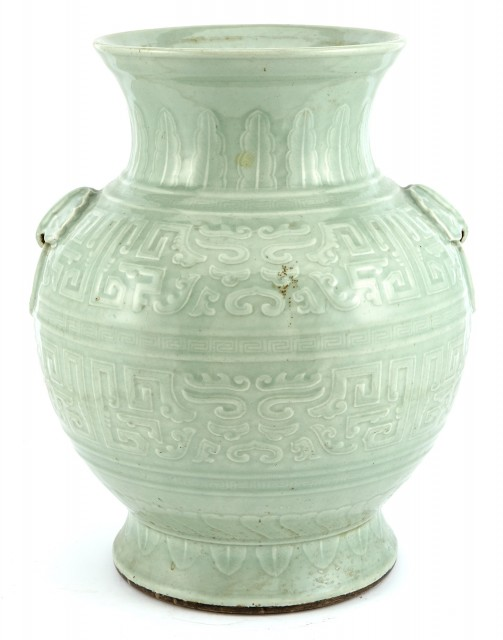 Chinese Celadon Ground Porcelain Large Vase