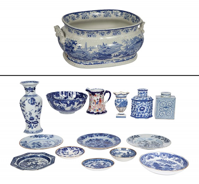 Group of Blue and White Ceramic Articles