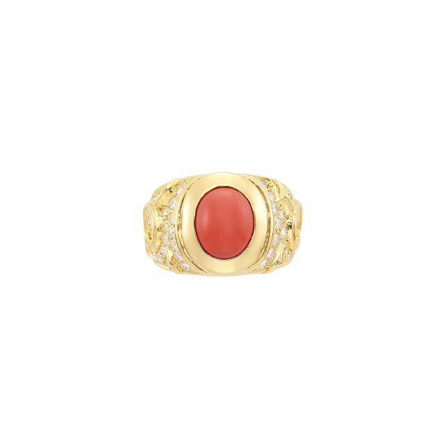 Gold, Coral and Diamond Ring, Marina B