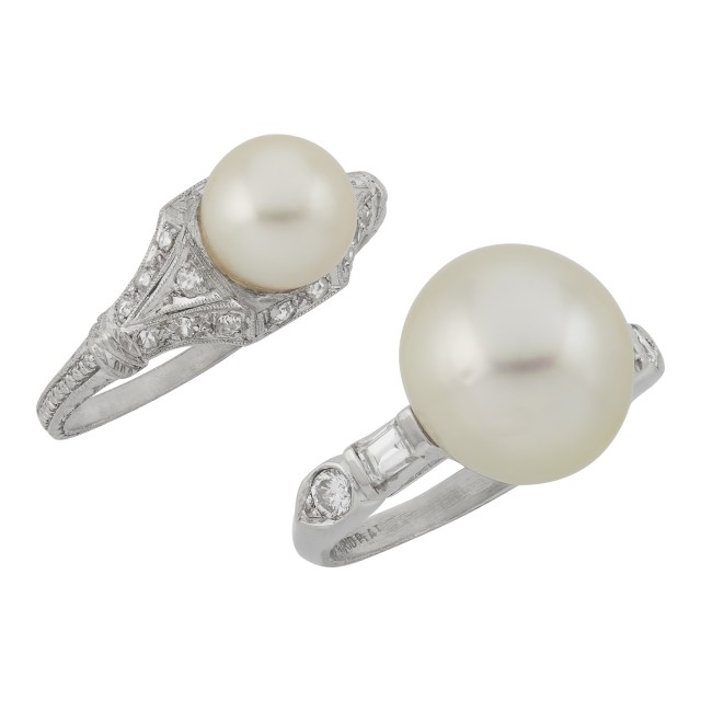 Two Platinum, Cultured Pearl and Diamond Rings