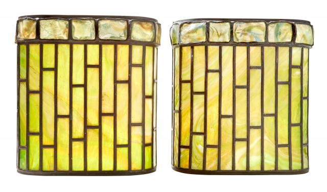 Pair of Tiffany Studios Bronze, Leaded Geometric Glass and Turtle Back Tile Sconces