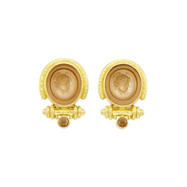 Elizabeth Locke Pair of Gold and Glass Cameo, Mother-of-Pearl and Smoky Quartz Earclips