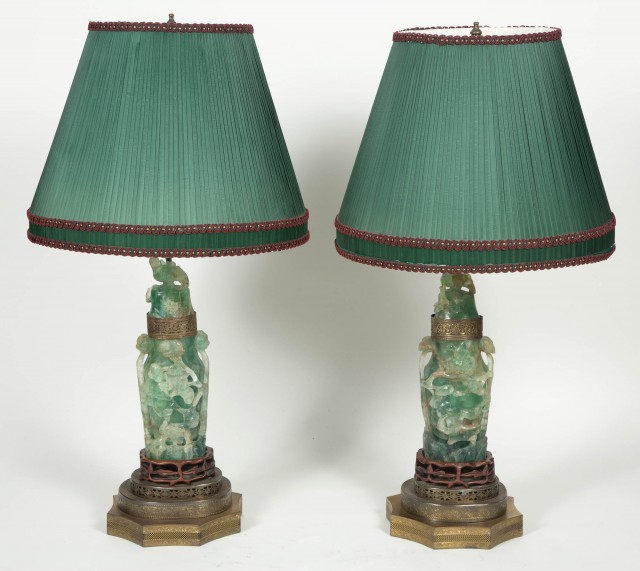Pair of Chinese Carved Green Quartz Lamps