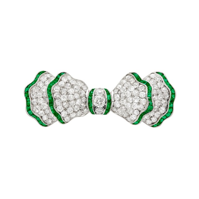 Platinum, Emerald and Diamond Bow Brooch
