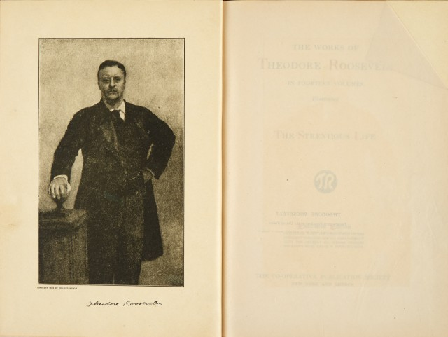 "ROOSEVELT, THEODORE  Salesman's ""dummy"" for The Executive Edition of The Works of Theodore Roosevelt."