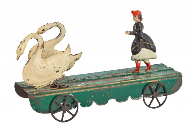 Twin Swans and Figure Tin Mechanical Toy