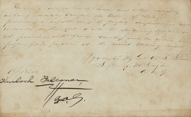 [SHERMAN, WILLIAM TECUMSEH, Major General]  Confederate General Joseph Johnston's copy of Sherman's General Orders No. 65 announcing the final agreement of Surrender.