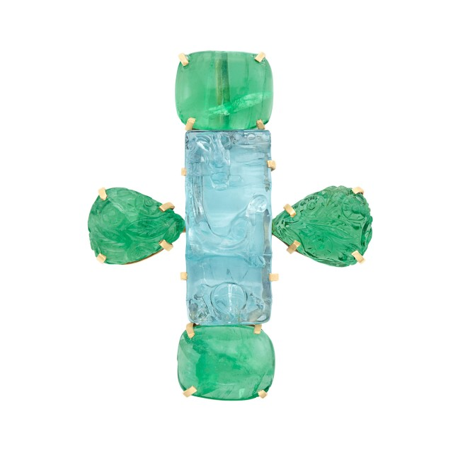 Gold, Carved Aquamarine and Cabochon Emerald Pendant-Brooch