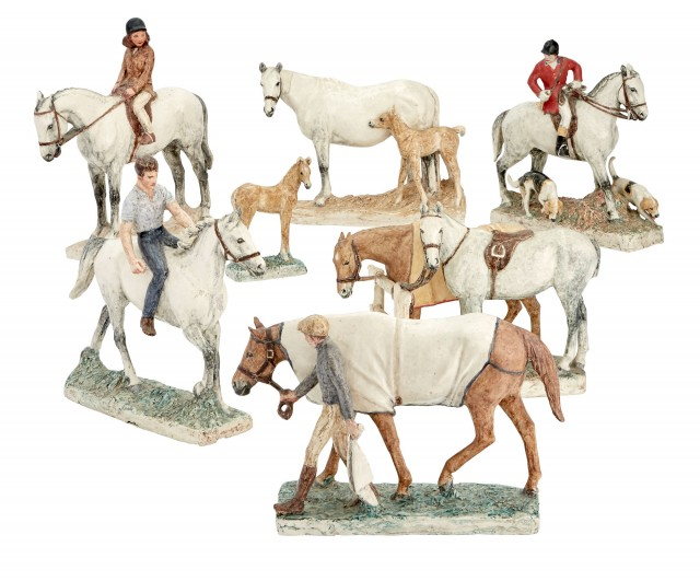 Group of Seven Ceramic Horses and Riders