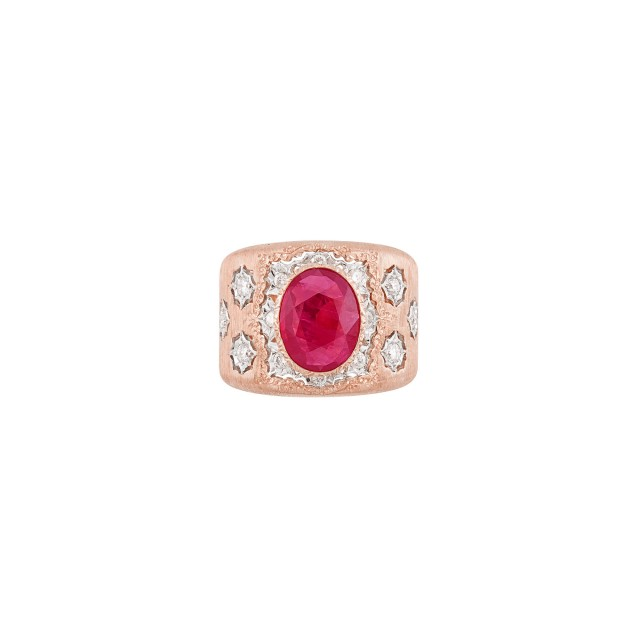 Wide Two-Color Gold, Ruby and Diamond Band Ring, Mario Buccellati