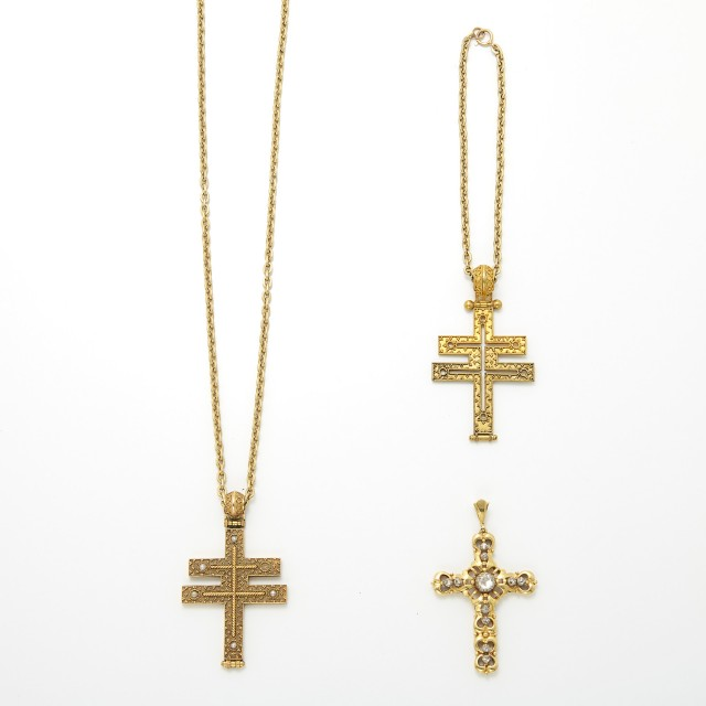 Three Gold, Silver, Metal and Diamond Cross Pendants with Chains