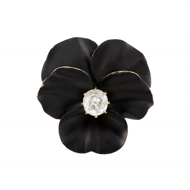 Antique Gold, Diamond and Black Enamel Pansy Brooch