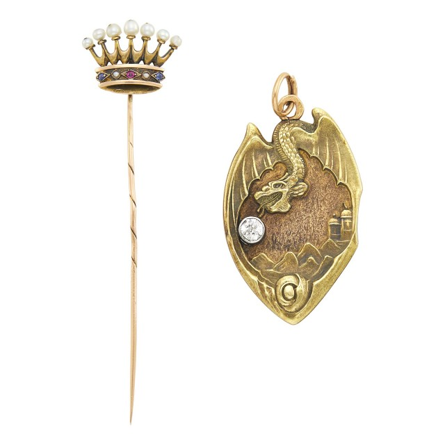 Russian Jeweled Gold Pendant and Stick Pin