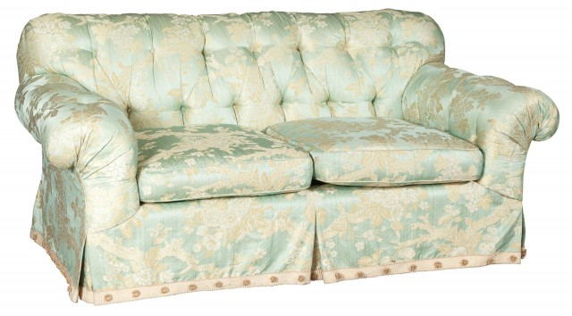 Green and Cream Silk-Upholstered Two-Cushion Sofa