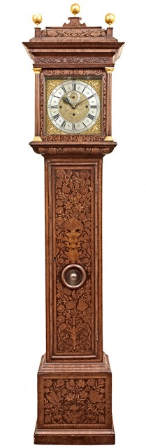 William and Mary Marquetry Walnut Tall Case Clock