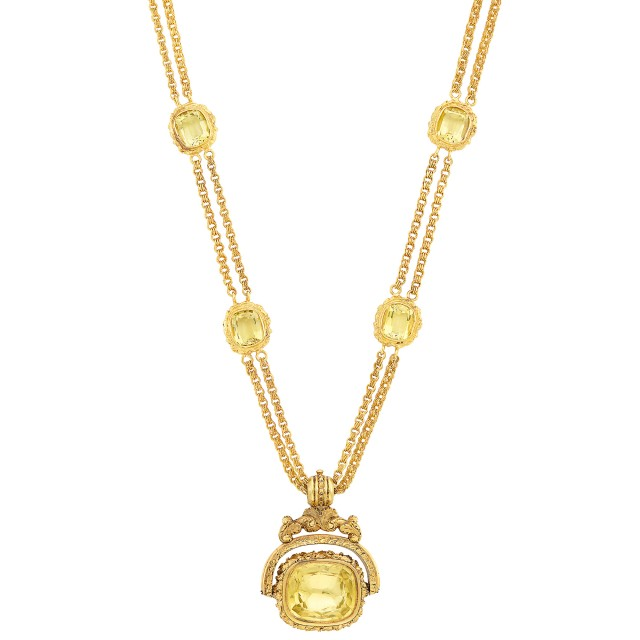 Double Strand Gold and Citrine Chain Necklace with Antique Variegated Gold and Citrine Fob Pendant